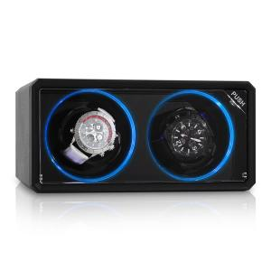 8LED2S Watch Winder 2 Watches Black LED Effect