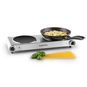 Captain Cook² Double Hot Plate Hob Ceramic 2400W Silver Silver