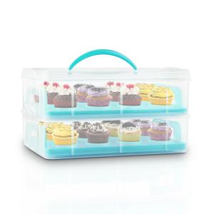 USS Blue Cookie Cake Transporter Containers 2 Tiers 2 Inserts Handles Blue