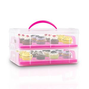 USS Pink Cookie Cake Transporter Containers 2 Tiers 2 Inserts Handles Pink