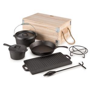 Hotrod Masterplan Dutch Oven Set 7-piece Cookware Set BBQ Cast Iron