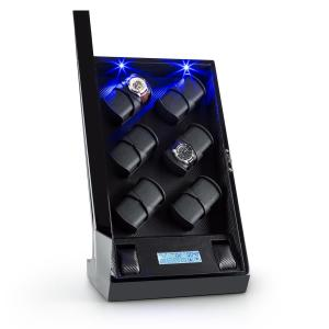 Klingenthal 12 Watches Watch Winder Right-Left-Run LED Touch Black Pure Handmade Black