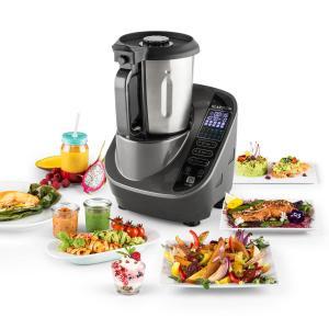 Food Circus Kitchen Machine Steamer 500/1100W black/grey stainless steel Grey