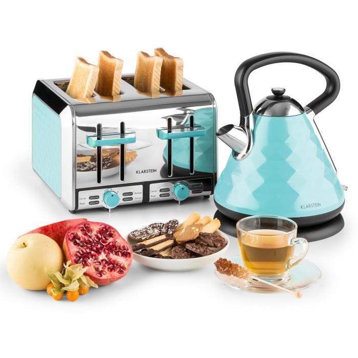 Cooking & Baking Equipment Curacao Azur Breakfast Set Electric Kettle 4-Slice Toaster Blue