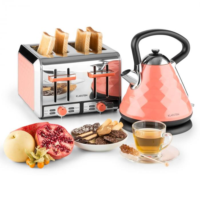 Cooking & Baking Equipment Curacao Coral Breakfast Set Electric Kettle 4-Slice Toaster Coral
