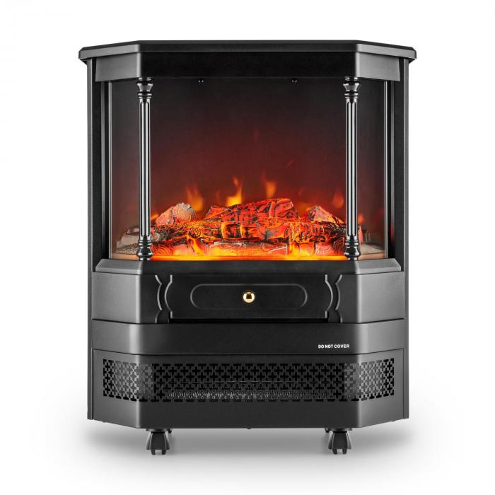 Electric Fireplace real flame electric fireplace : Castillo Electric Fireplace Halogen Flame Simulation Black | Klarstein