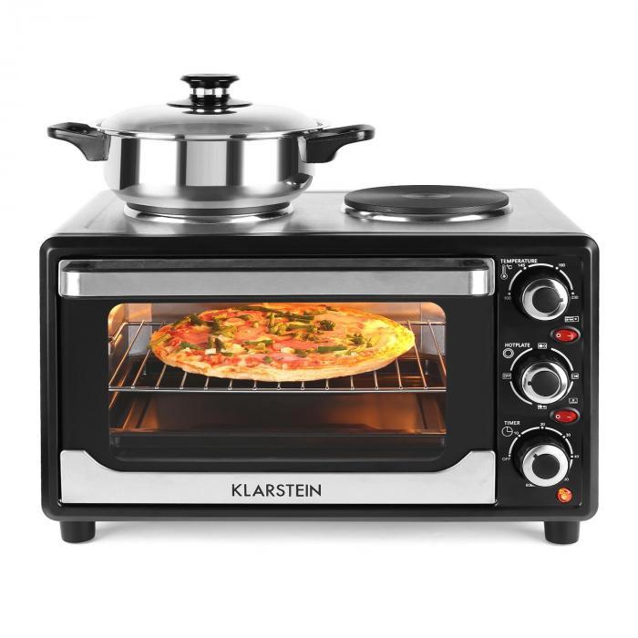 omnichef 23hb mini oven with hot plates 1500w 23l black black klarstein. Black Bedroom Furniture Sets. Home Design Ideas